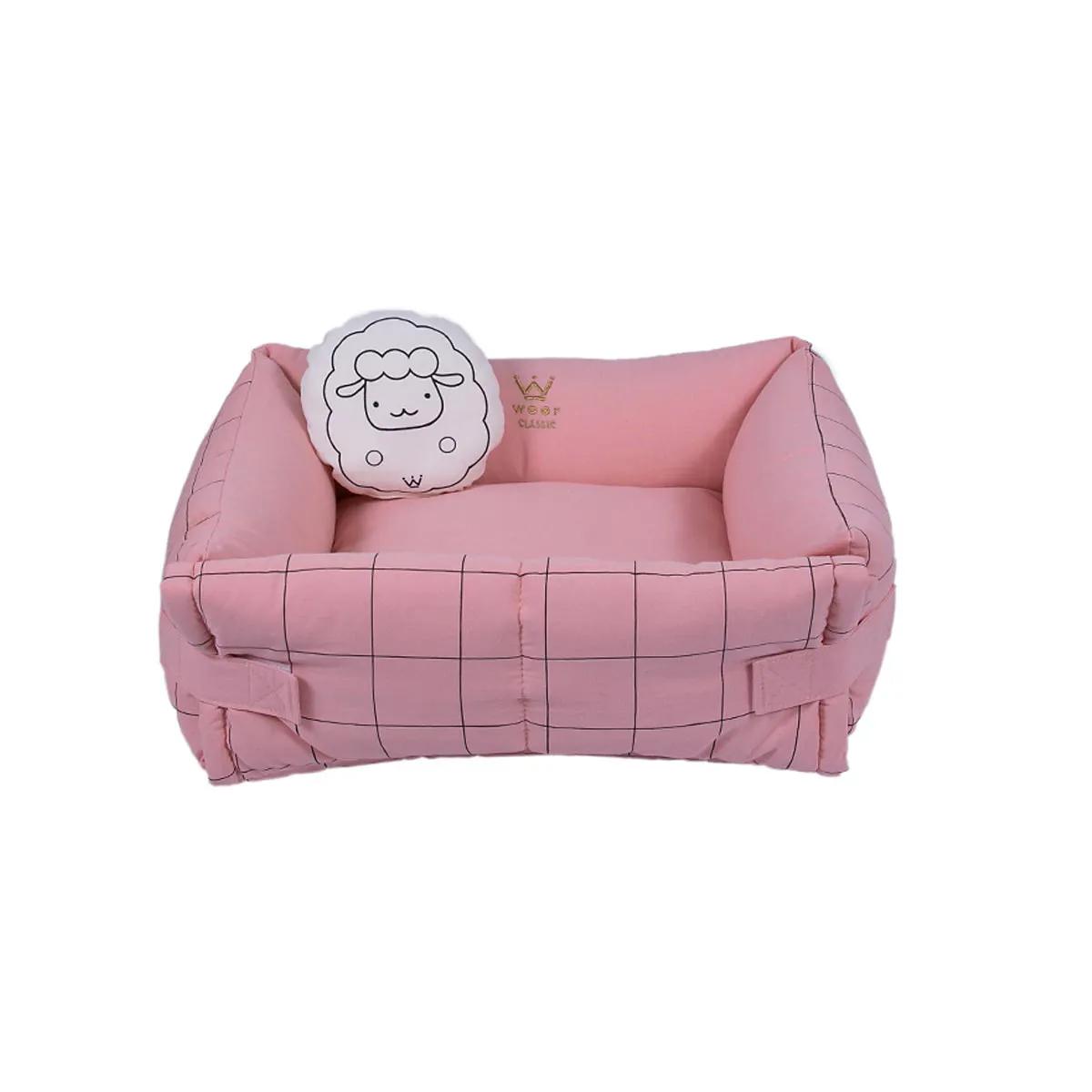 Cama para Cachorro e Gato Woof Pet Couch Grid Sarja / Linho Rose Sheep Grid