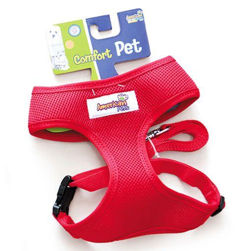 Coleira Peitoral com Guia American Pets Confort Vermelho