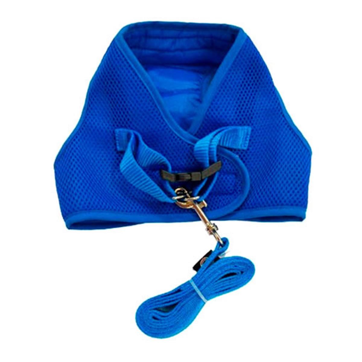 Coleira Peitoral com Guia para Cachorro Tecido Aerado Emporium Distripet Azul Royal