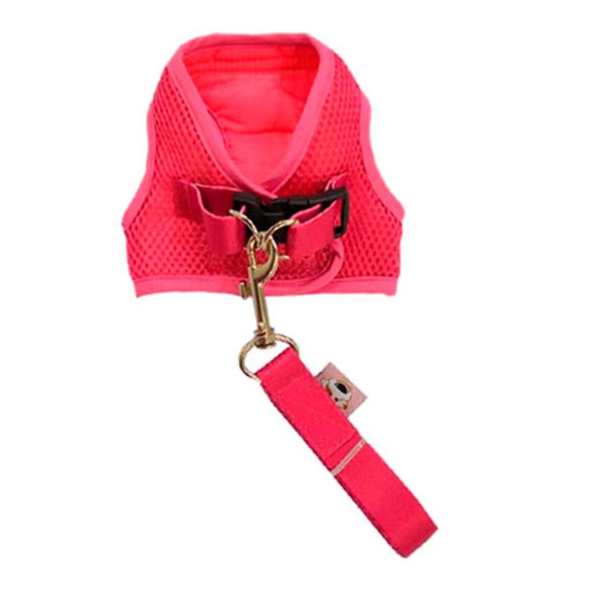 Coleira Peitoral com Guia para Cachorro Tecido Aerado Emporium Distripet Rosa