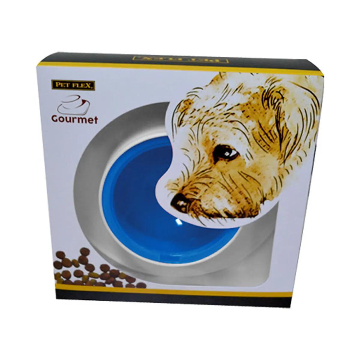 Comedouro Gourmet Pet Flex Para Cachorros e Gatos Azul
