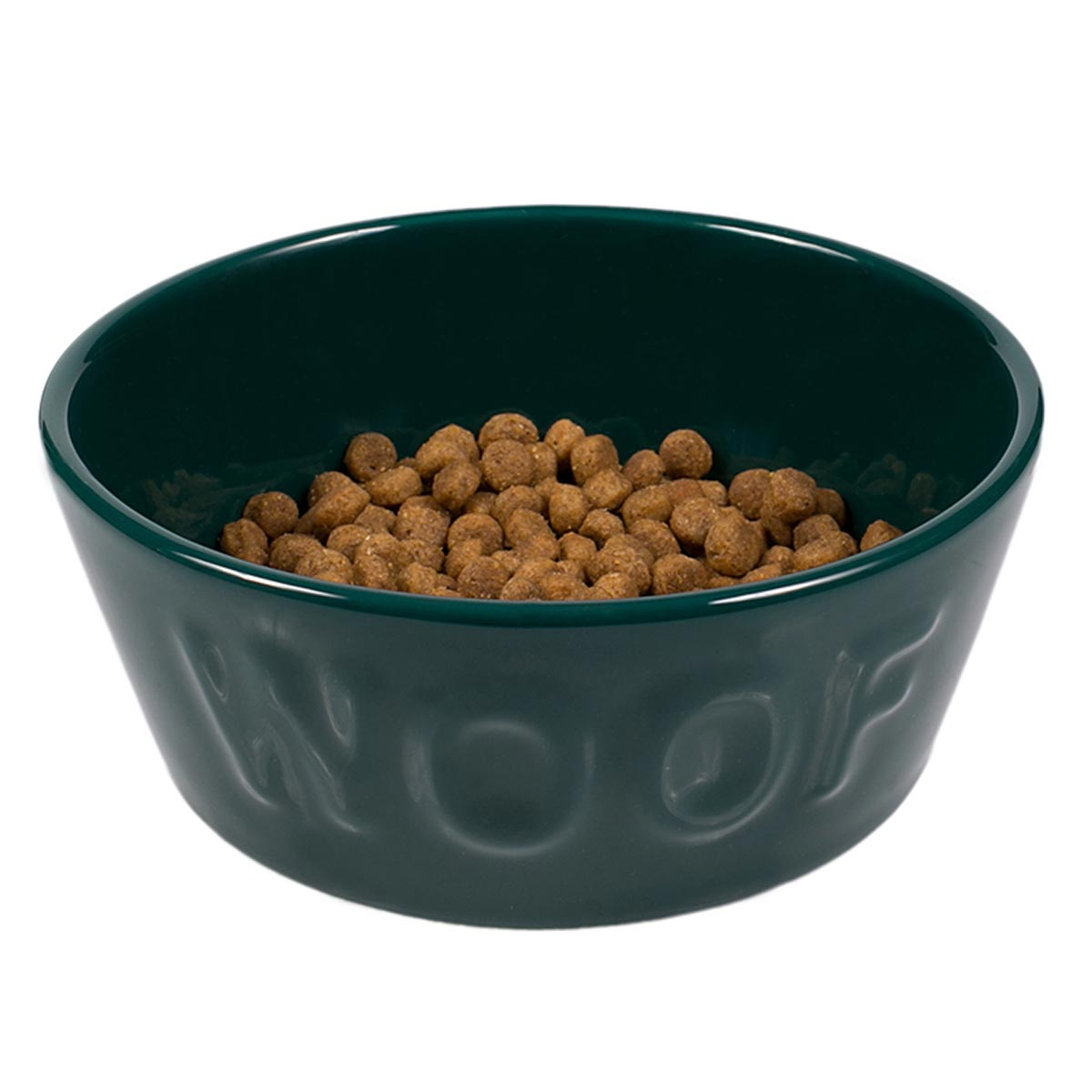 Comedouro Woof para Cachorro e Gato Cerâmica Esmaltado Verde Escuro