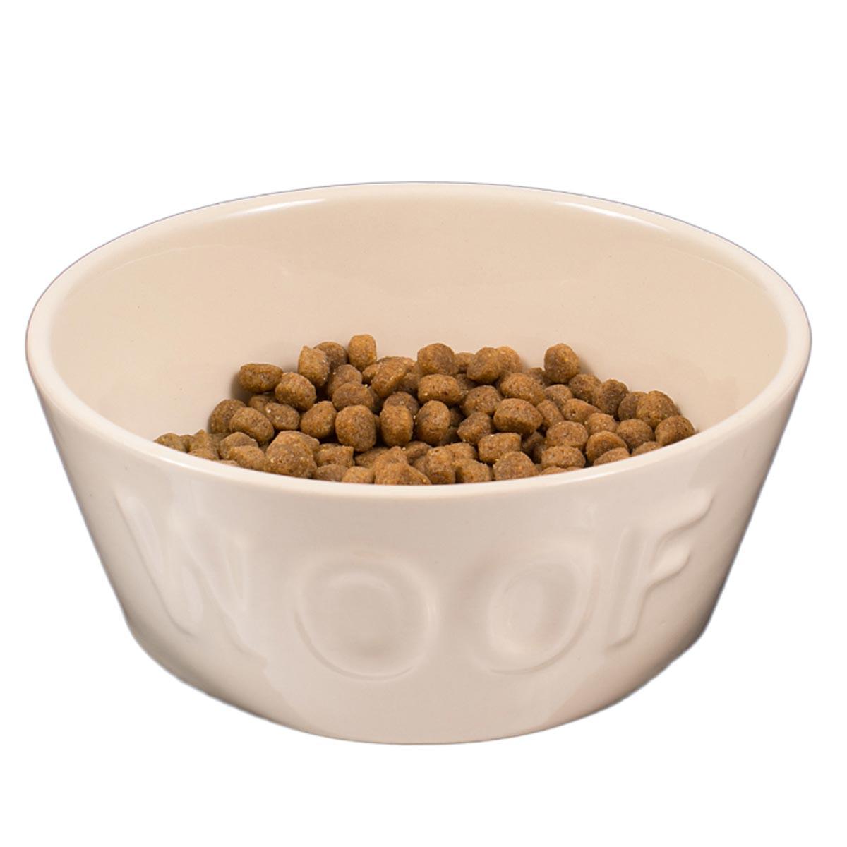 Comedouro Woof para Cachorro e Gato Esmaltado Bege