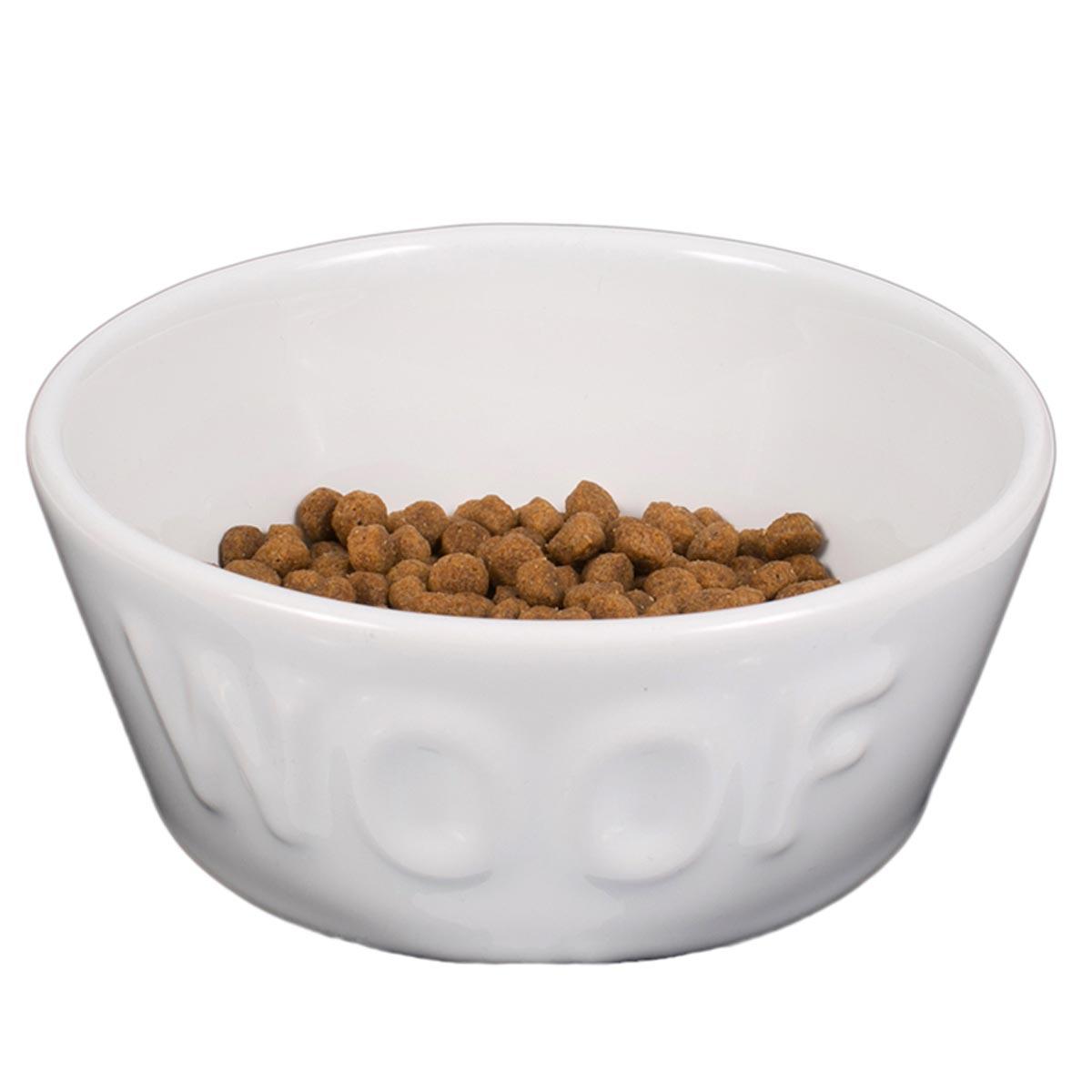 Comedouro Woof para Cachorro e Gato Esmaltado Branco