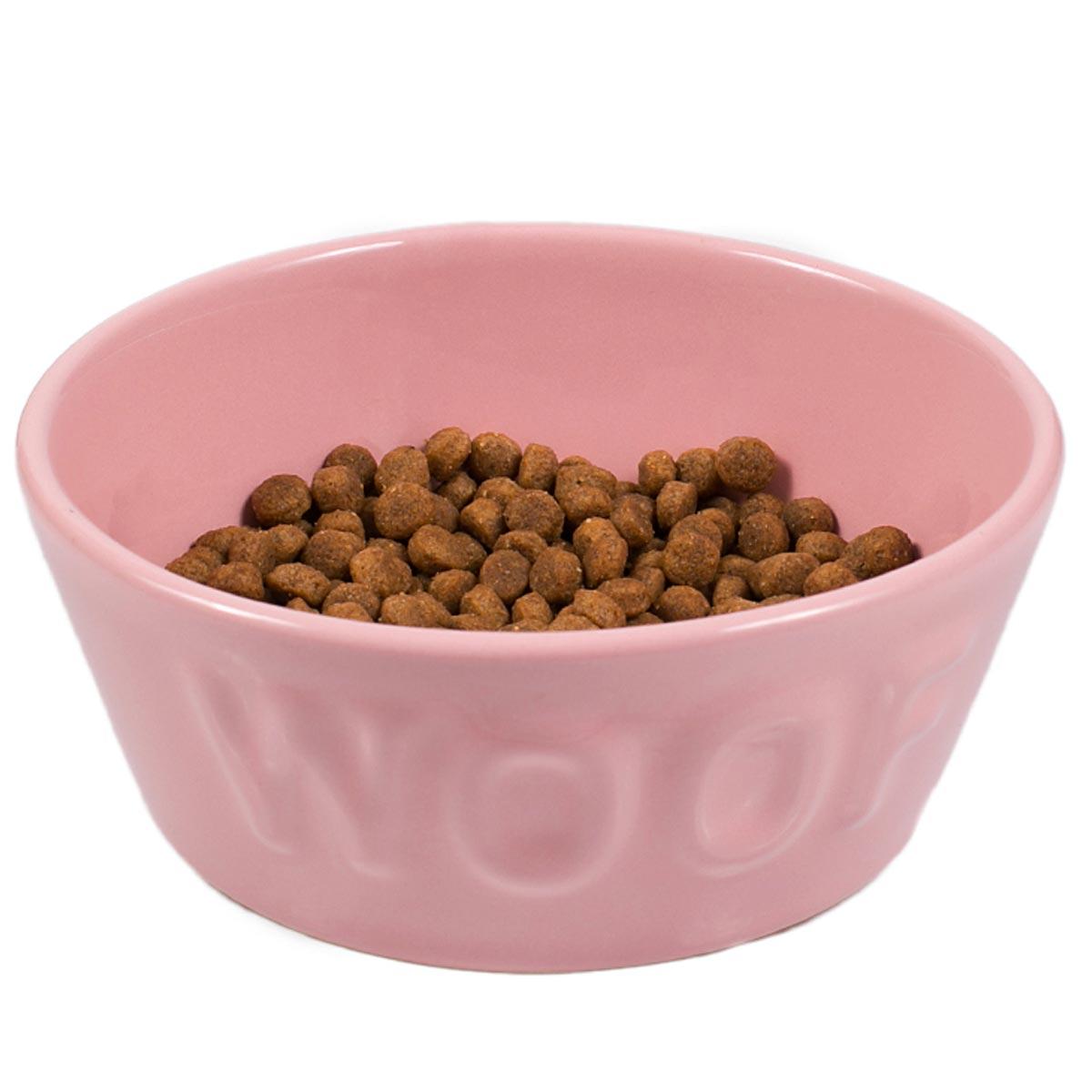 Comedouro Woof para Cachorro e Gato Esmaltado Rosa