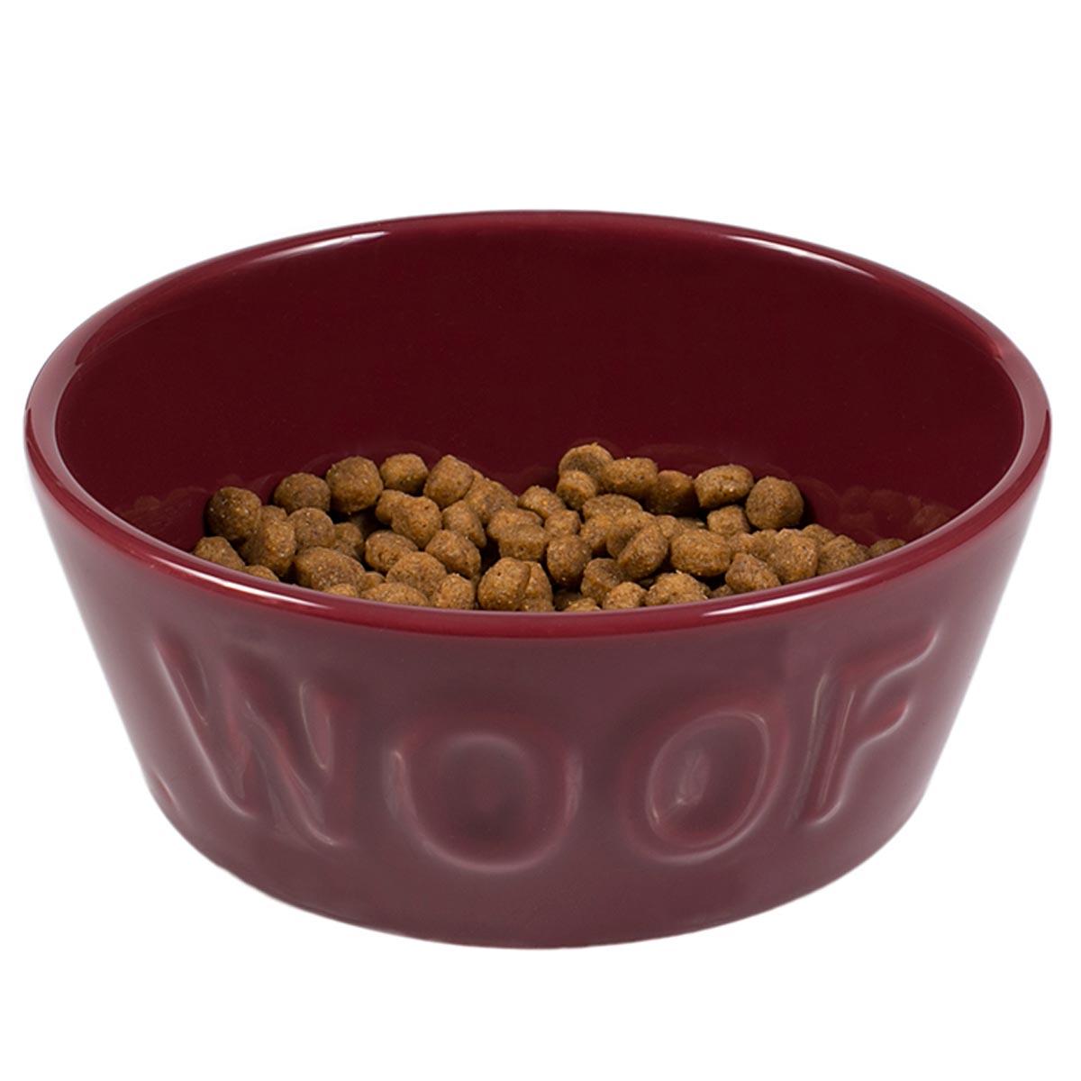 Comedouro Woof para Cachorro e Gato Esmaltado Vinho