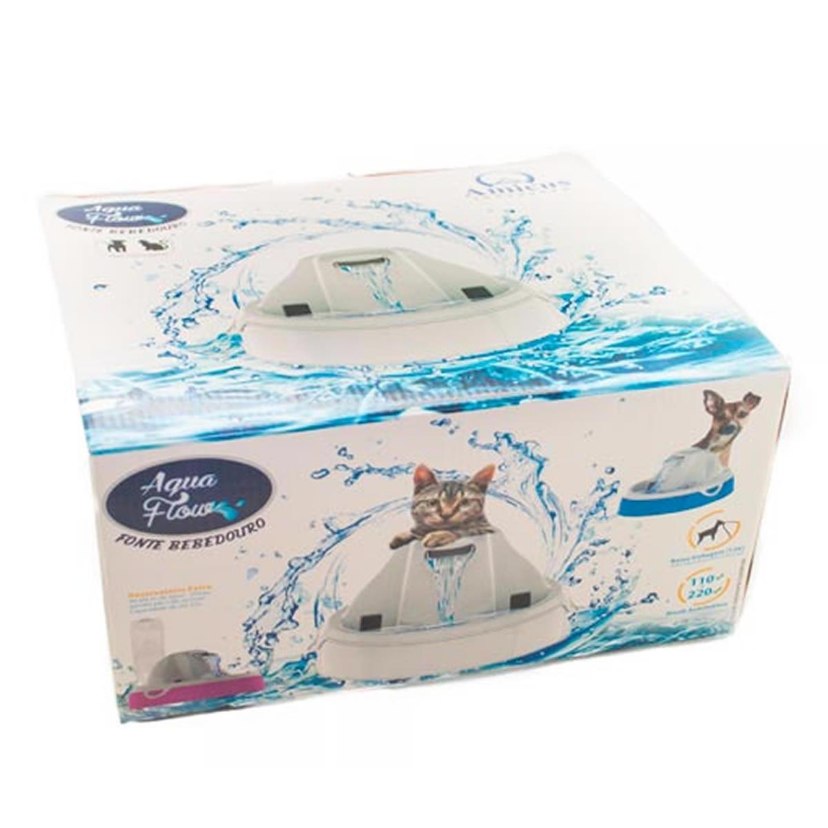 Fonte Bebedouro para Gato e Cachorro Aqua Flow Amicus Azul e Branco