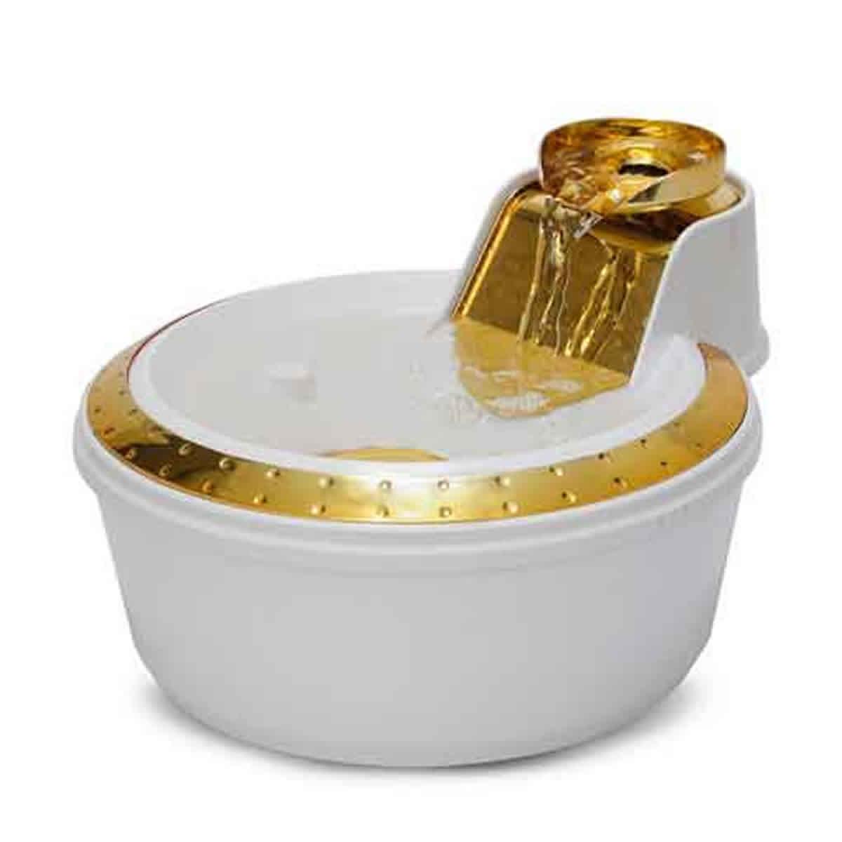 Fonte Bebedouro Petlon Premium Branca e Dourada