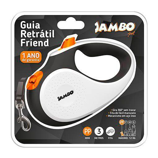 Guia Retrátil Friend Jambo Pet Branca e Laranja