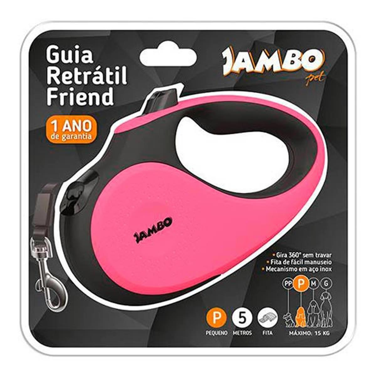 Guia Retrátil Friend Jambo Pet Rosa
