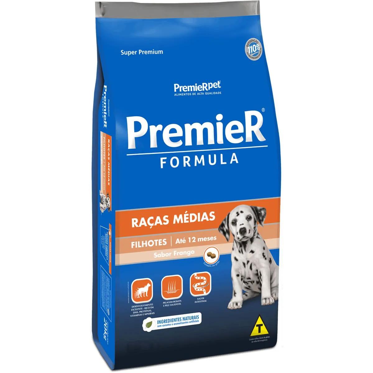 Ração Premier Formula Raças Médias para Cães Filhotes Sabor Frango