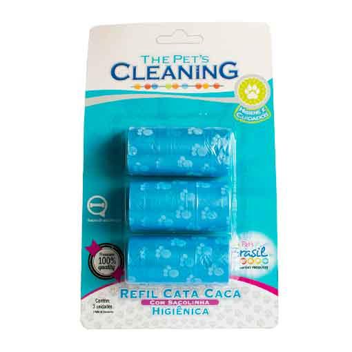 Refil Cata Caca Azul com 3 Rolos The Pet's Cleaning