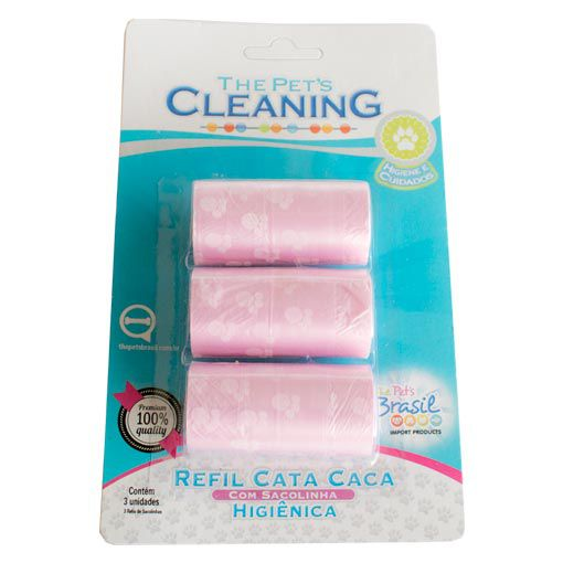 Refil Cata Caca Rosa com 3 Rolos The Pet's Cleaning
