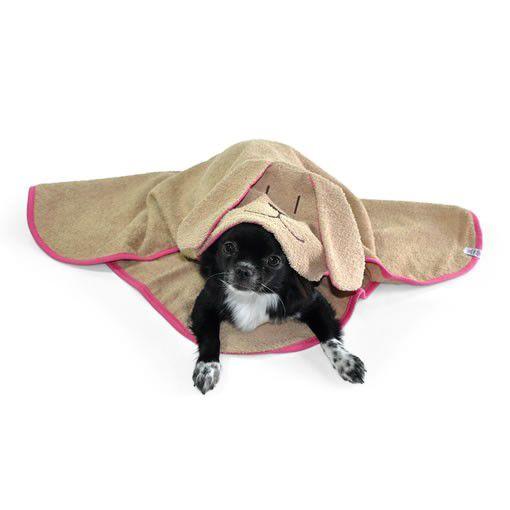 Toalha de Banho Com Capuz Para Cachorro Bichinho Chic Bege Com Rosa