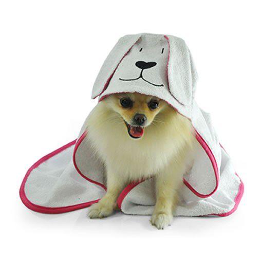 Toalha de Banho Com Capuz Para Cachorro Bichinho Chic Branco Com Rosa