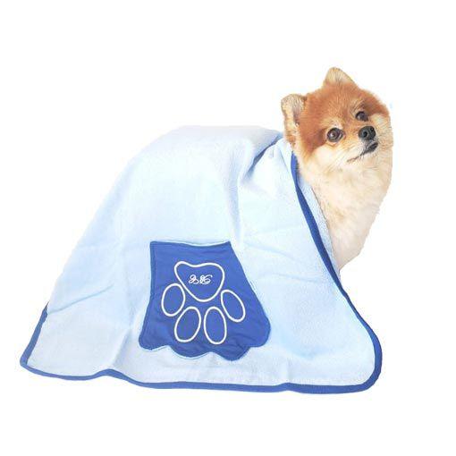 Toalha de Banho para Cachorro Com Bolso nas Laterais Carinho Bichinho Chic Azul