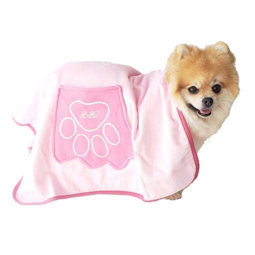 Toalha de Banho para Cachorro Com Bolso nas Laterais Carinho Bichinho Chic Rosa
