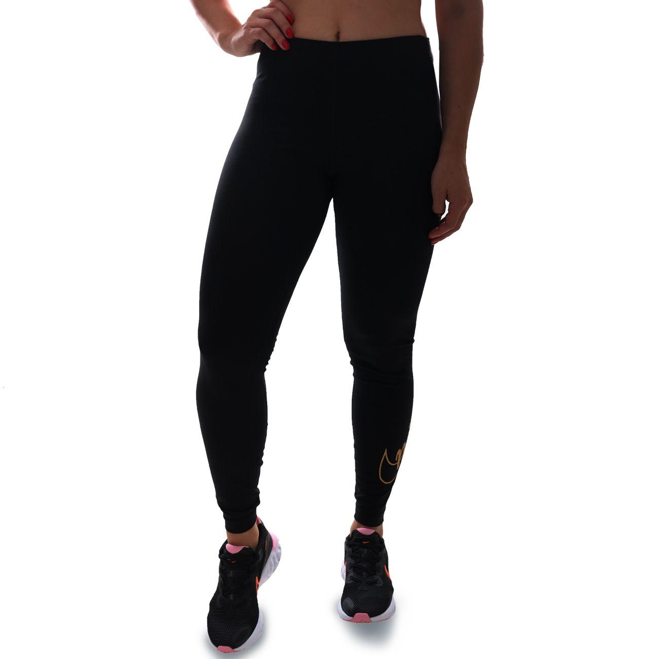 Calça Legging Nike Glitter Preto E Dourado
