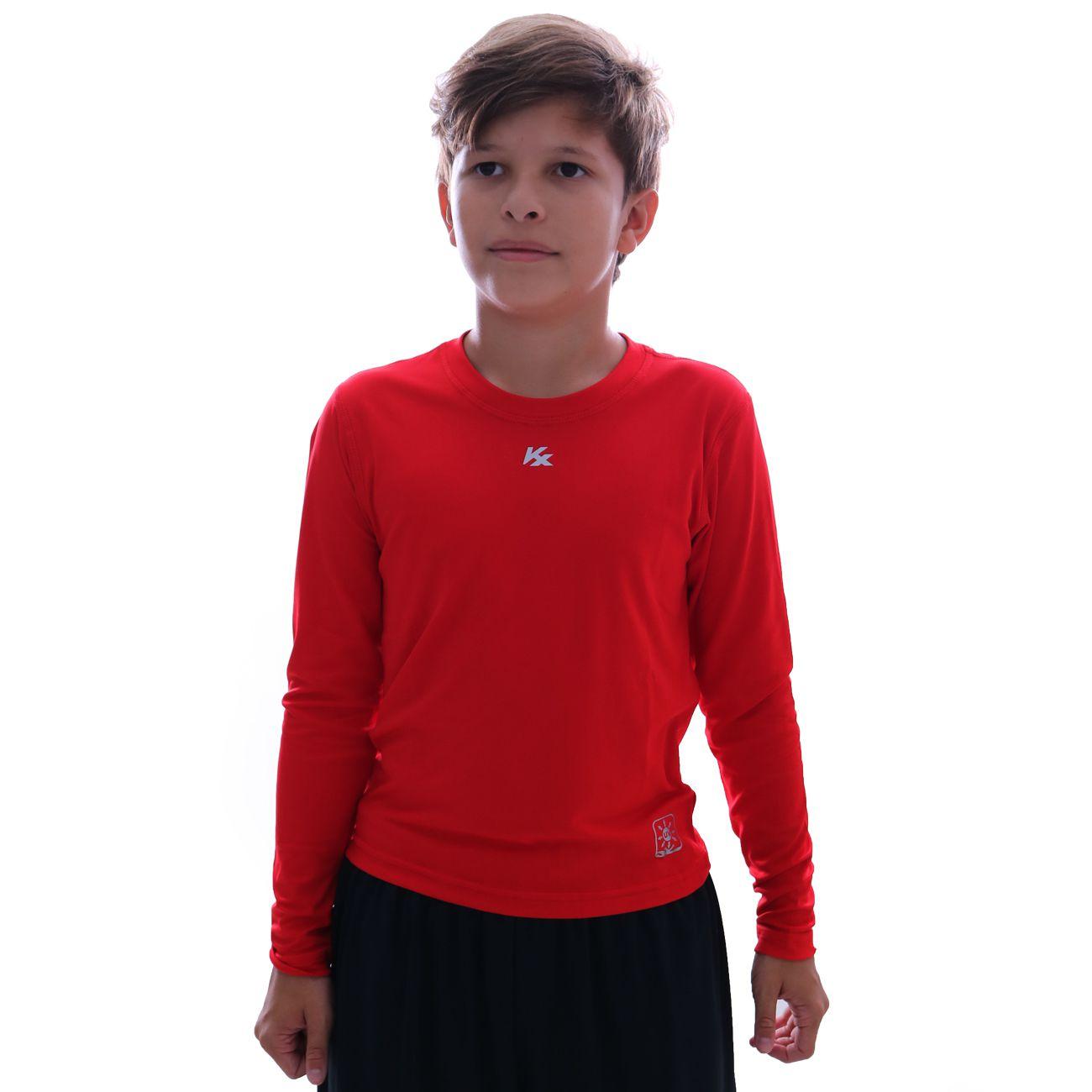 Camisa Térmica Kanxa Baby Look Protection M/l Infantil Vermelho