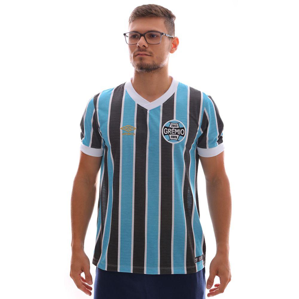 Camisa Umbro Grêmio Retrô 1983 - Azul Claro e Preto