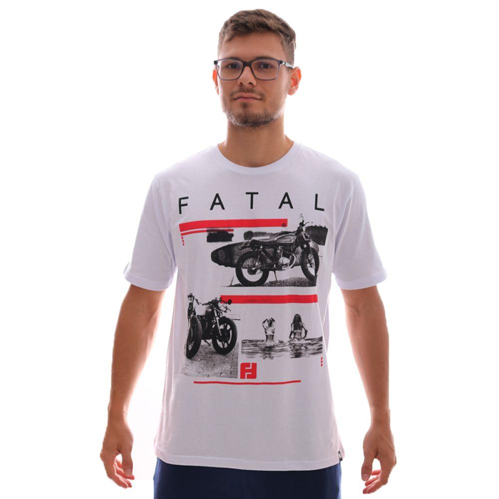 Camiseta Fatal Moto Estampada Branco