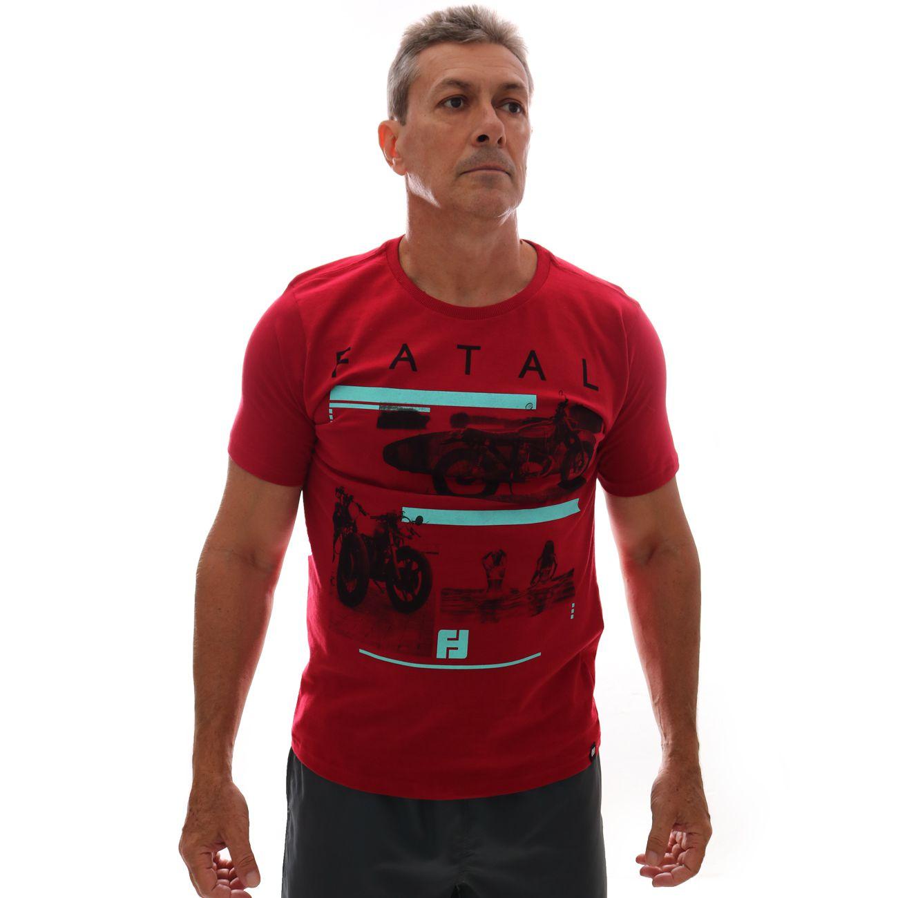 Camiseta Fatal Moto Estampada Vermelho