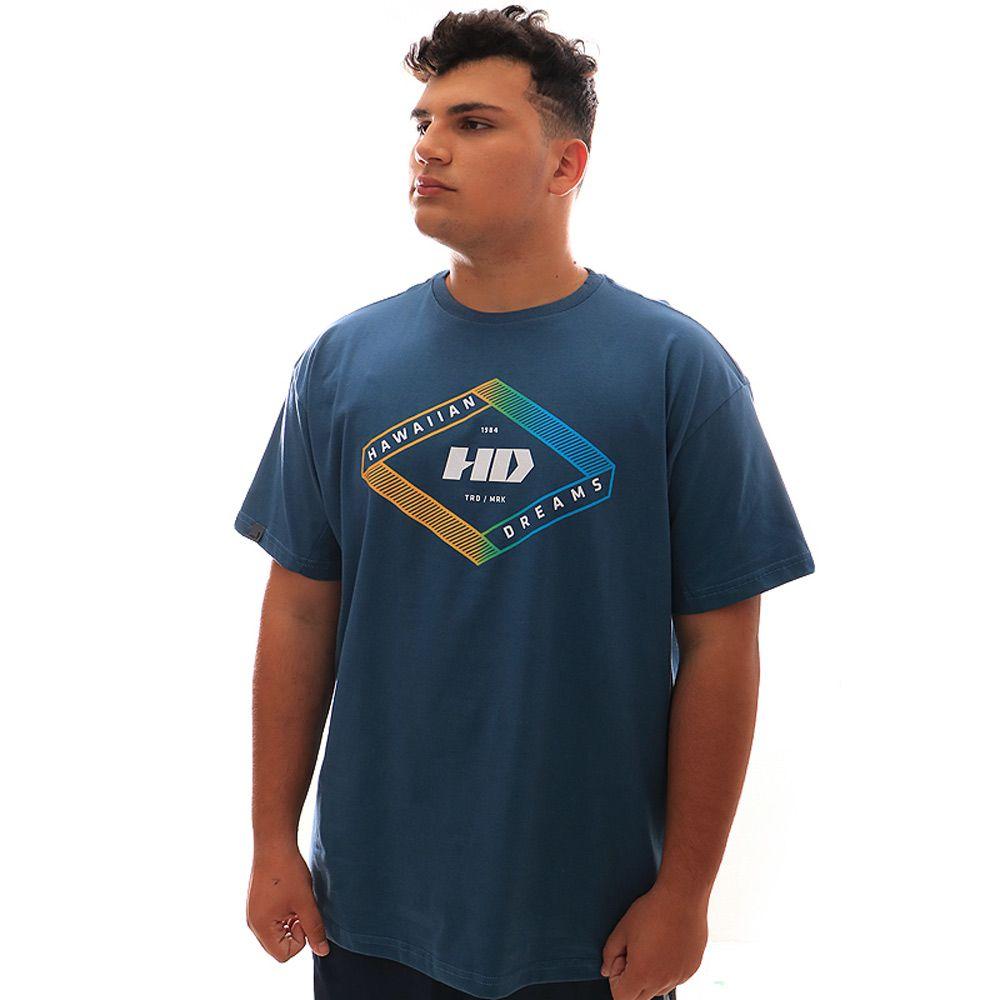 Camiseta HD Gradient Geo Petroleo Plus Size