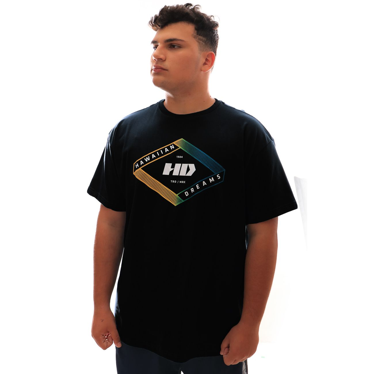 Camiseta HD Gradient Geo Preto Plus Size