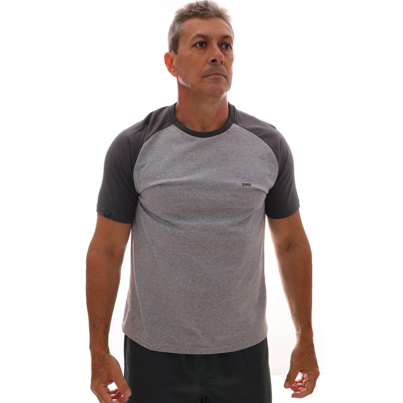 Camiseta HD Raglan Minimal Cinza Mescla
