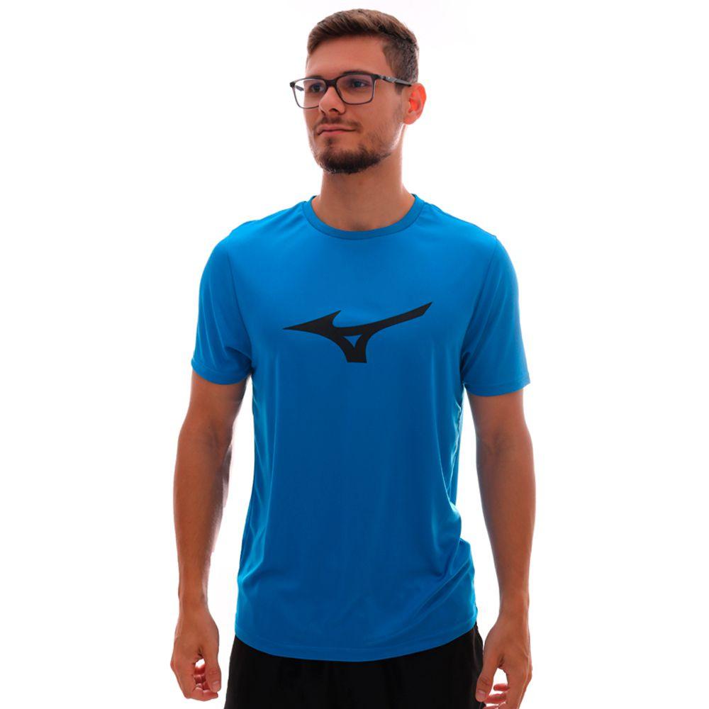 Camiseta Mizuno Run Spark Logo Azul e Preto