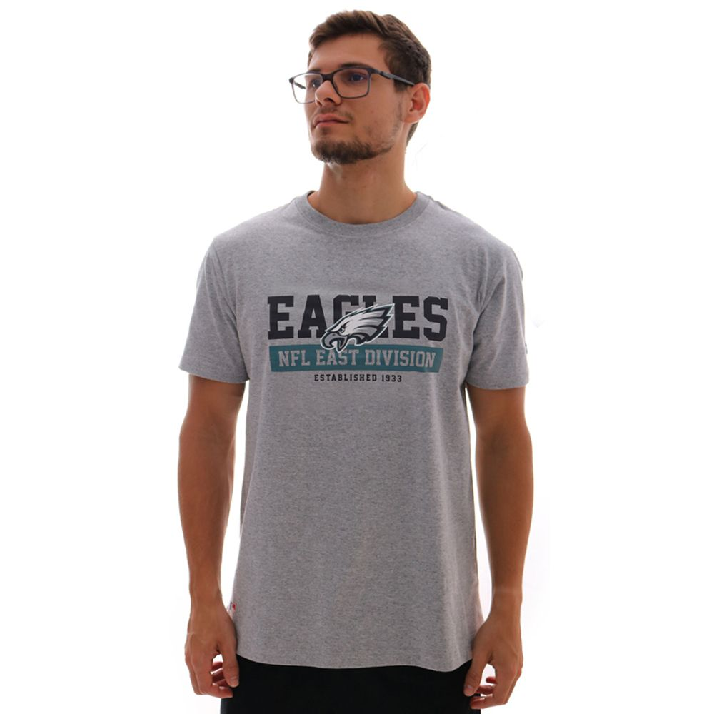Camiseta New Era NFL Philadelphia Eagles Essentials Division Masculina - Mescla Claro