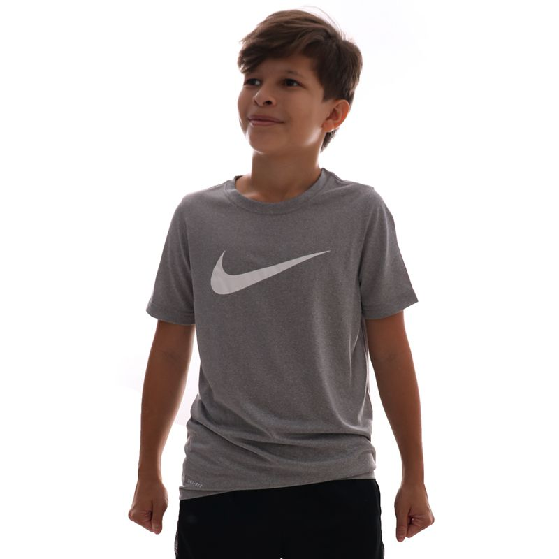 Camiseta Nike Dri-fit Swoosh Infantil Cinza