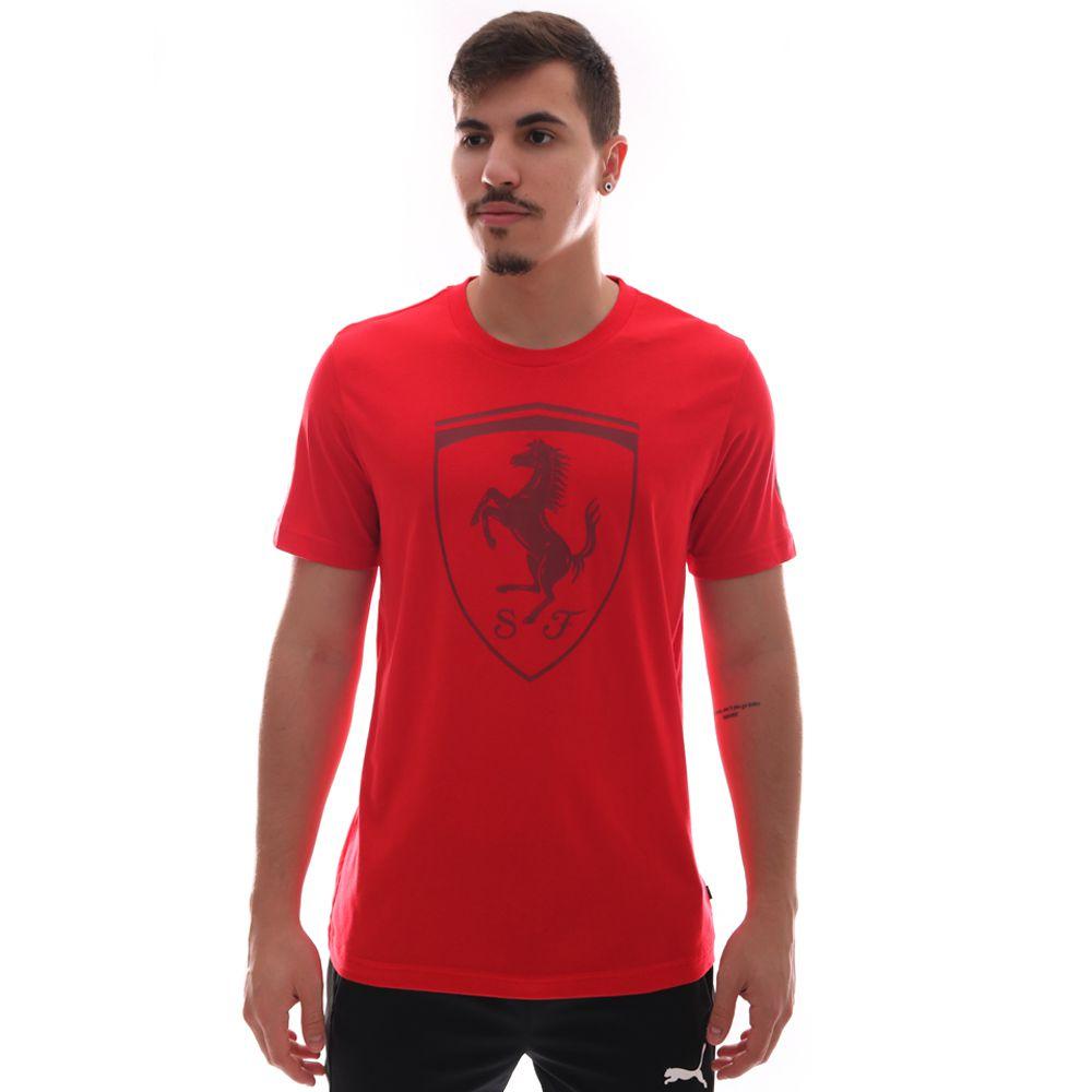 Camiseta Puma Ferrari Big Shield Tee Vermelho