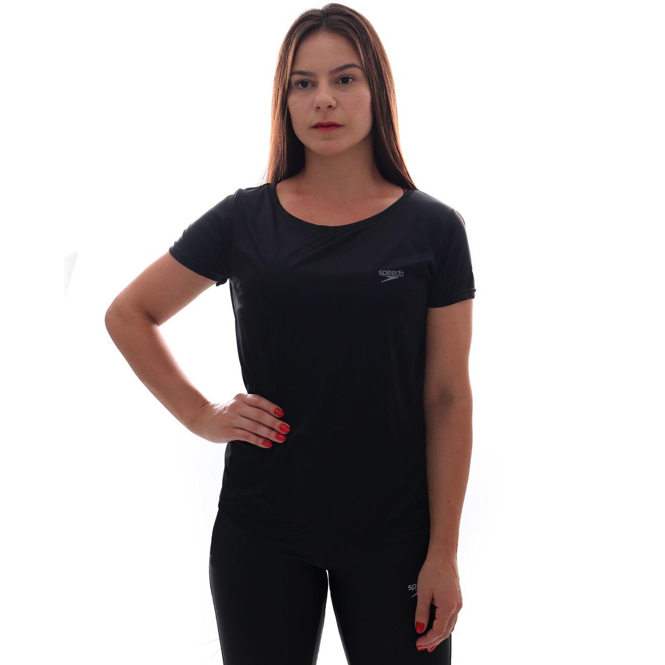 Camiseta Speedo Interlock UV50 Feminina Preto