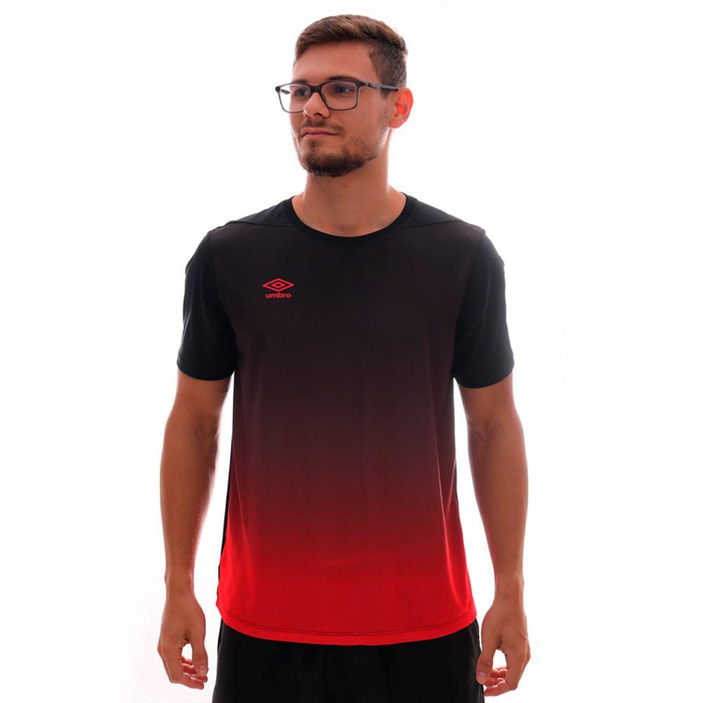 Camiseta Umbro Twr Degrade Preto E Vermelho