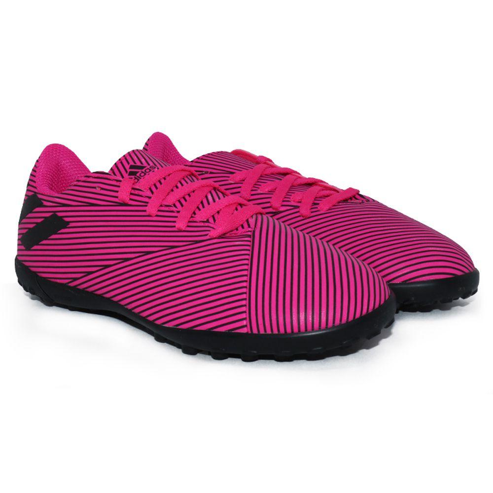Chuteira Society Juvenil Adidas Nemeziz 19 4 TF - Pink e Preto