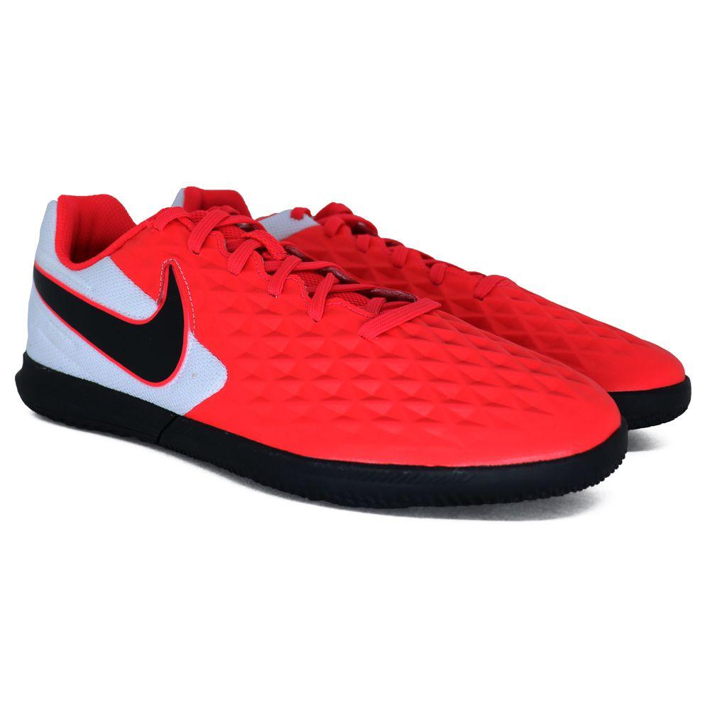 Chuteira Nike Tiempo Legend 8 Club Futsal Vermelho e Branco