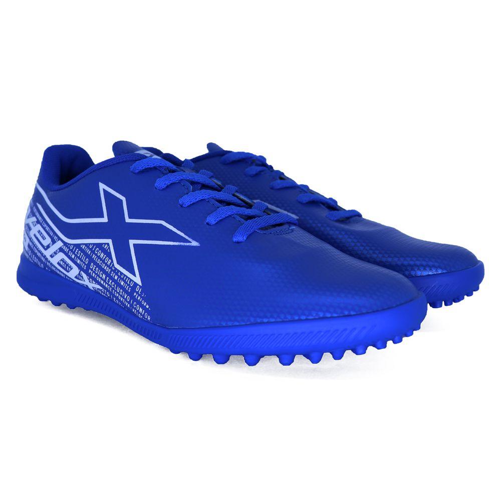 Chuteira Oxn Velox 3 Pro Society Juvenil Azul E Branco