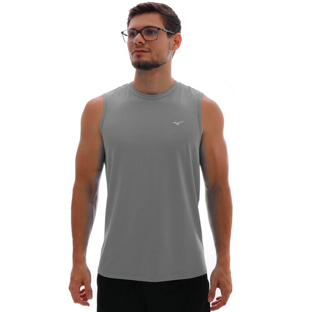 Regata Mizuno Run Tech Com Proteção UV Masculina Cinza