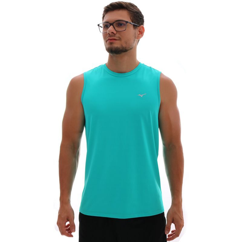 Regata Mizuno Run Tech Com Proteção UV Masculina Verde