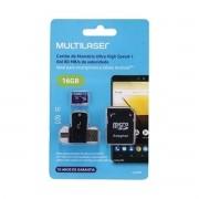 Cartao de Memoria 4X1 ULTRA HIGH Speed ATE 80 MB/S UHS1 16GB +adaptador SD USB Dual MC150 Classe 10