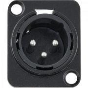 Conector XLR Macho Painel 3 Polos Niquelado HX049M Preto HYX
