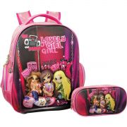 Mochila Escolar Lovely GIRL 3D C/ Estojo