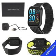 Relogio Inteligente Smartwatch Bluetooth Resistente a Agua Preto e Verde SMART Bracelet SMART Bracelet Generico