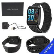 Relogio Inteligente Smartwatch Bluetooth Resistente a Agua Preto SMART Bracelet SMART Bracelet Generico