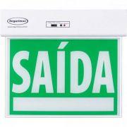 Sinalizacao de Saida SLIM Dupla Face C/ Adesivo 24X18CM Segurimax Verde
