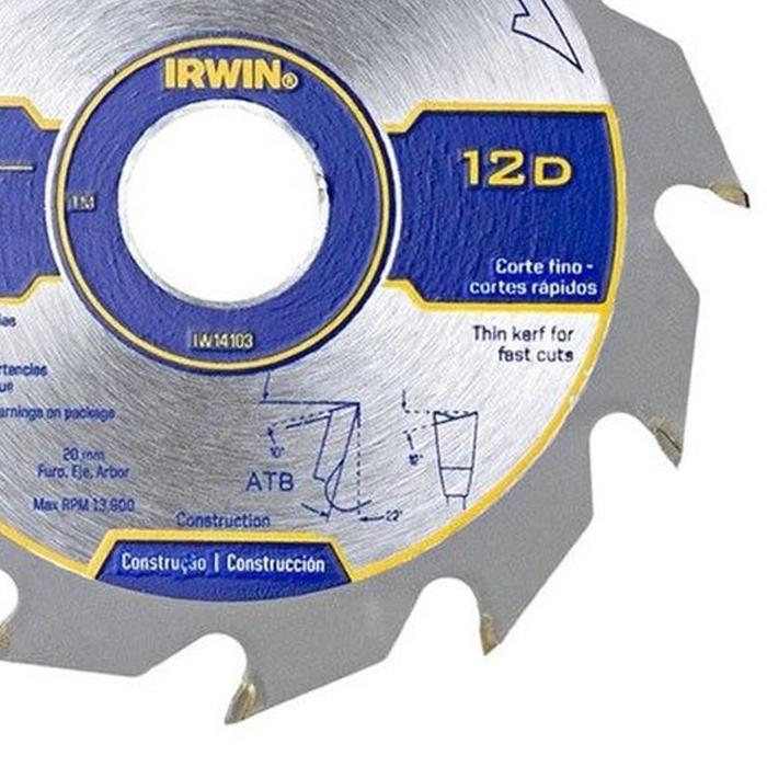 DISCO PARA SERRA CIRCULAR 4.3/8 12 DENTES IRWIN