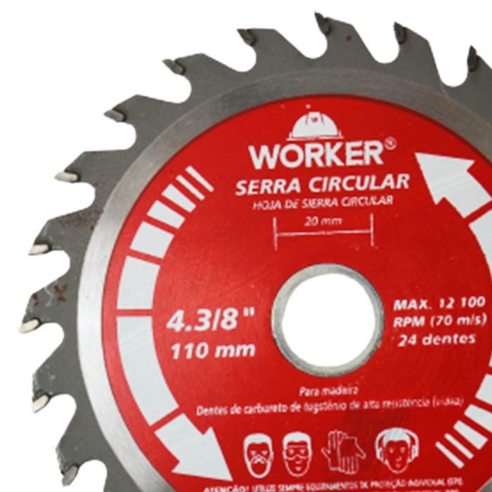 DISCO PARA SERRA CIRCULAR 4.3/8 24 DENTES WORKER