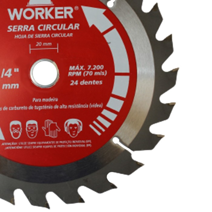 DISCO PARA SERRA CIRCULAR 7.1/4 24 DENTES WORKER