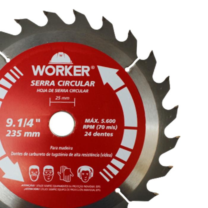DISCO PARA SERRA CIRCULAR 9.1/4 24 DENTES WORKER